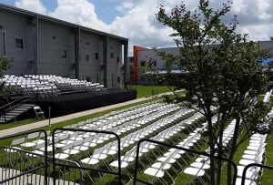 High-school graduation stage and chairs
